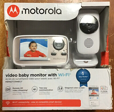 """Motorola MBP667CONNECT 2.8"""" Video Baby Monitor with WiFi White New"""