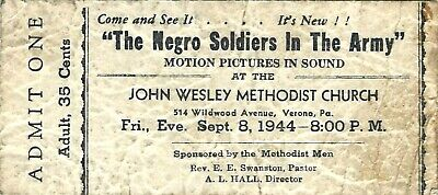 1944 WWII~Black Military~Vintage Ticket~The N---- Soldiers in the Army~Verona PA