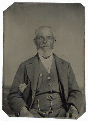 Older African American Black Gentleman With Pin On His Chest Tintype Photo