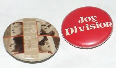 BADGE PIN LOT 2 X 25mm JOY DIVISION NEW ORDER NEW WAVE BUTTON PINBACK OLD BAND