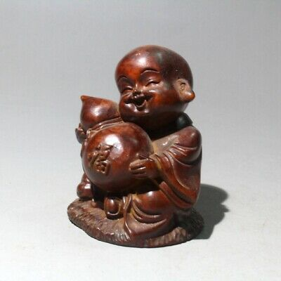Collectable China Old Boxwood Handwork Carve Lovely Monk Auspicious Noble Statue
