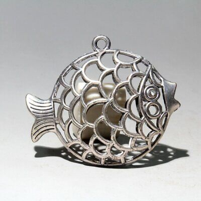 Collectable Chinese Old Miao Silver Hand-Carved Hollow Out Fish Delicate Pendant