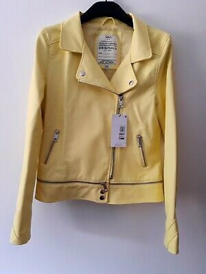 BNWT Girls Faux Leather lemon yellow Jacket  by M&S age 13 - 14