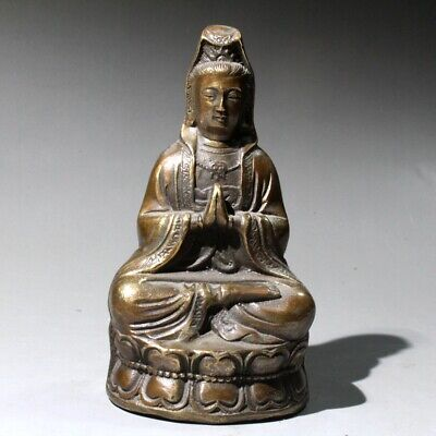 Collectable China Old Bronze Hand-Carved Buddhism Kwan-Yin Delicate Noble Statue