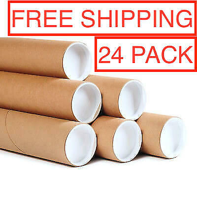 """x24 Mailing Tubes with Caps 3"""" x 24"""", 0.07"""" Thick"""