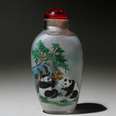 China Collectable Glass Interior Paint Lovely Panda Eat Watermelon Snuff Bottles