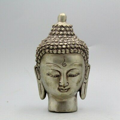 Collectable Qianlong Years China Miao Silver Hand-Carved Exorcism Buddha Statue