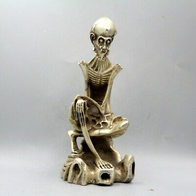 Collectable Daming Years Miao Silver Hand-Carved Lonely Old Man Skeleton Statue