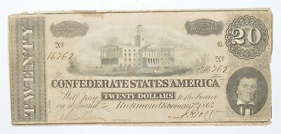 Genuine CIVIL WAR 1864 $20 C. S. A. Over 150 Years Old Horse Blanket Note *184