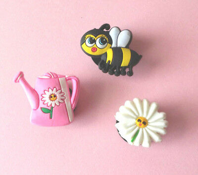 Girls Shoe Charms Shoe Accessories Flower Bee Watering Can Lot of 3
