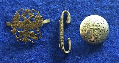 Imperial Russian Officer's Coat Button, Collar Device and Unit Letter