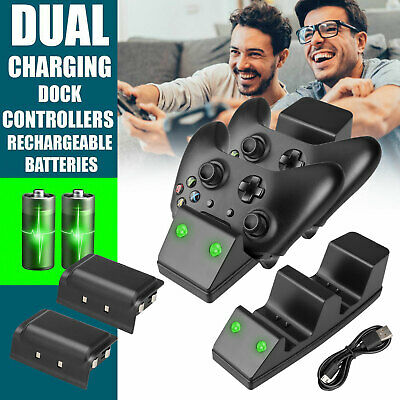 Dual Dock Charging Charger+2x Battery For Xbox One/Xbox One S Controller Gamepad