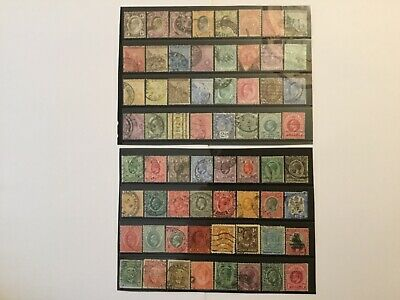 old stamps GB COMMONWEALTH AFRICA on 2 stock cards used