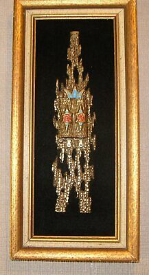 modernist midcentury Abstract Brutalist brass and enamel sculpture  wall plaque