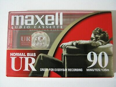 Maxell UR90 audio tape cassette 90 minutes normal bias blank new sealed