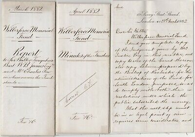 3 Paper items William Wilberforce Memorial Fund London 1882 Bishop of Rochester