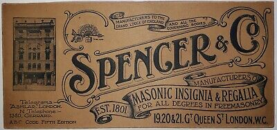 Rare Freemasonry Masonic Cardboard Box for an Apron by Spencer of London c.1910