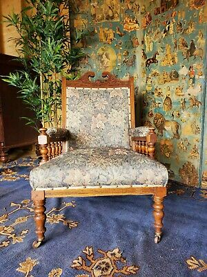 Antique Carved Oak Victorian Library Armchair Reading Chair DELIVERY AVAILABLE