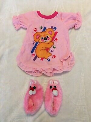 Cabbage Patch Kids Clothes Vintage Doll Cpk Pink Pjs Sleep Gown Slipper Set