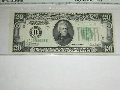"1934-C $20 Federal Reserve Note. B-A block. ""OLD STYLE REVERSE"". Uncirculated."