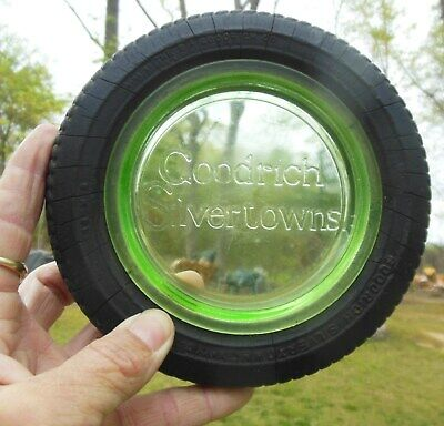 Vintage Goodrich Silvertowns Tire Ashtray Green Glass Heavy Duty Cord