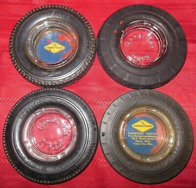 4 Good Year & Goodrich Tire Ashtrays Lot Tubeless Super Cushion & Silvertown