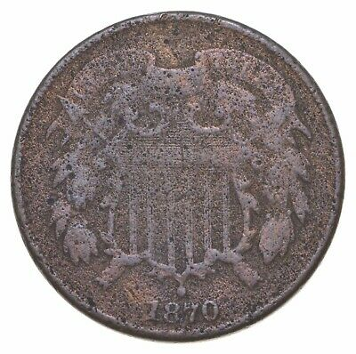 **TWO CENT** 1870 US TWO 2 Cent Piece - 1st Coin with In God We Trust Motto *537