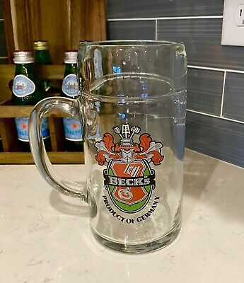 Beck's Beer Vintage Tall Glass Stein Beer Mug.. Product Of Germany