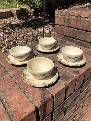 Set Of 4 Vtg Franciscan Desert Rose Coffee Tea Cup and Saucer Made in U.S.A. (B)