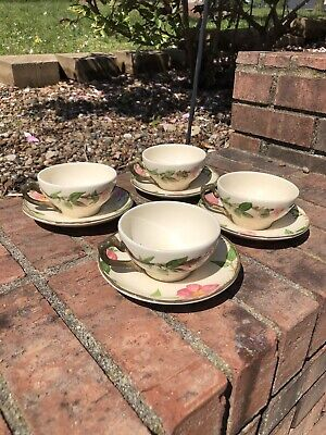 Set Of 4 Vtg Franciscan Desert Rose Coffee Tea Cup and Saucer Made in U.S.A. (A)