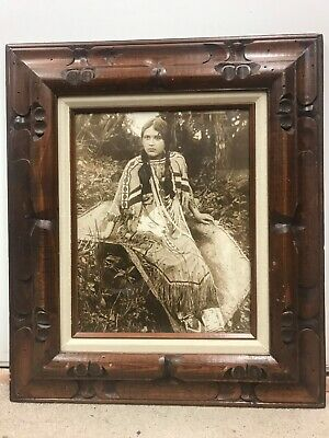 Photo American Indian Maiden.  Full Regalia Sepia.  Carved Wood Frame