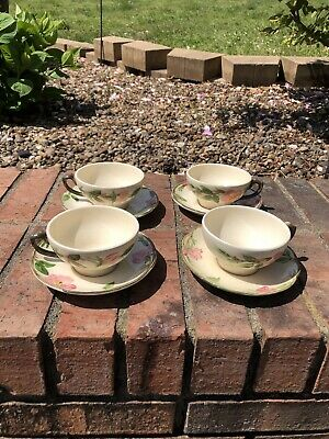 Set Of 4 Vtg Franciscan Desert Rose Coffee Tea Cup and Saucer Made in U.S.A. (C)