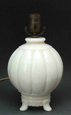 Vintage Signed Aladdin Alacite Moonstone Glass Footed Lamp