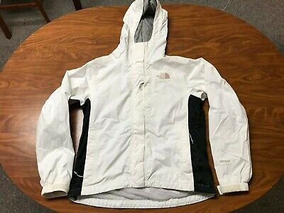 Womens Used The North Face Hyvent White Lightweight Hooded Rain Jacket Size Xs