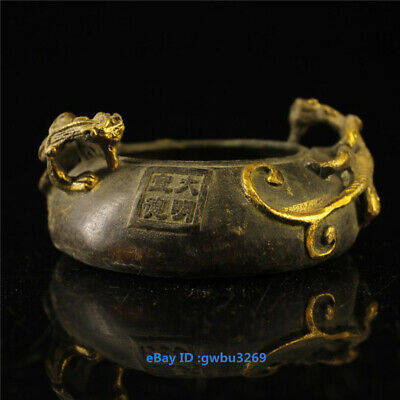 Collection Unique old chinese bronze Gilt Handwork carved Dragon pen wash