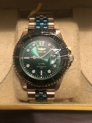 Invicta Pro Diver 30623 Gold Band Green Dial 43mm Case Wrist Watch for Men