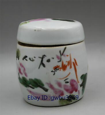 China collection old Jar Blue and white porcelain hand-painted Bird & flower pot