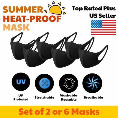 3D Unisex Black Face Mask Protective Cover Washable Reusable USA 6 PCS
