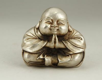 Chinese Old Tibetan Silver Handwork Carving Monk Buddha Statue