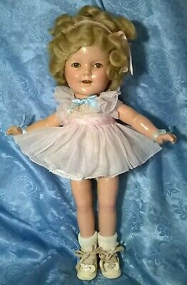 "VTG 1930's""IDEAL""SHIRLEY TEMPLE""COMPOSITION DOLL.13""H.MOHAIR.ORIGINAL OUTFIT.VG."
