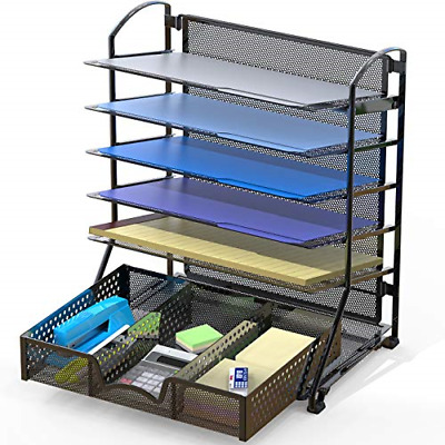 SimpleHouseware 6 Trays Desk Document File Tray Organizer with Supplies Sliding
