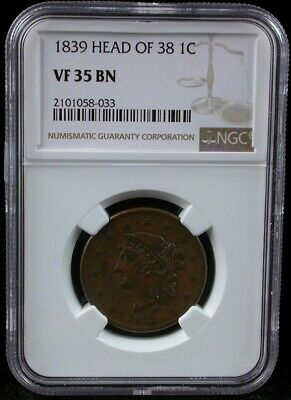 1839 Head Of 38 1C Ngc Vf 35 Bn Coronet Head Large Cent 1839 One Cent