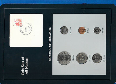 Coin Sets of All Nations Singapore w/card 1981-1984 UNC ERROR Yugoslavia stamp