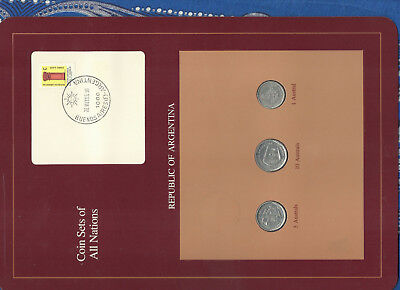 Coin Sets of All Nations Argentina 3 coin 10, 5, 1 Australs 1989 UNC