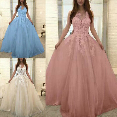 US Women Lace Wedding Formal Dress Plus Size Bridesmaid Evening Party Prom Gown