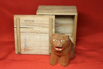 "Wood Carving ""Junishi Tiger"" Japanese Antiques Kashihara Jingu Nara Japan"