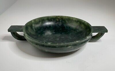 Chinese Spinach Jade Handled Shallow Bowl