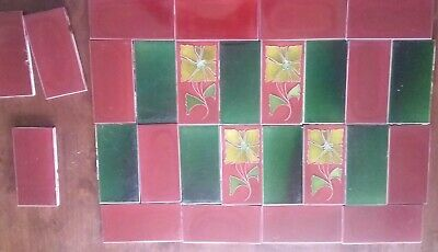 Antique English Art Nouveau Dark Green & Red tiles 4 central tiles with Flowers