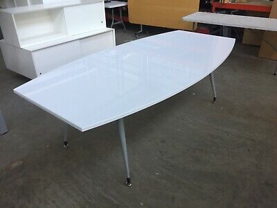White Gloss Office Meeting Table , Conference, Boardroom, Training 240 X 120 Cm