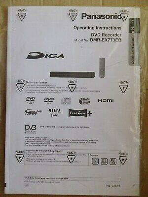 Panasonic Operating Instructions for model DMR-EX773EB DVD Recorder -Sealed Pack
